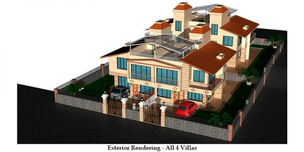 Exterior rendering – All 4 villas