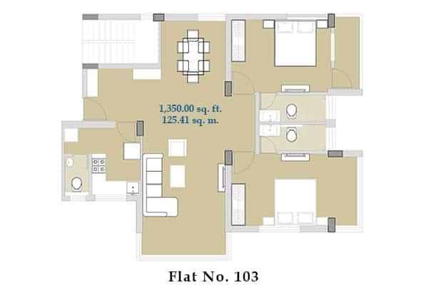 Varsha Apartment – Bangalore – Floor plan flat no. 103