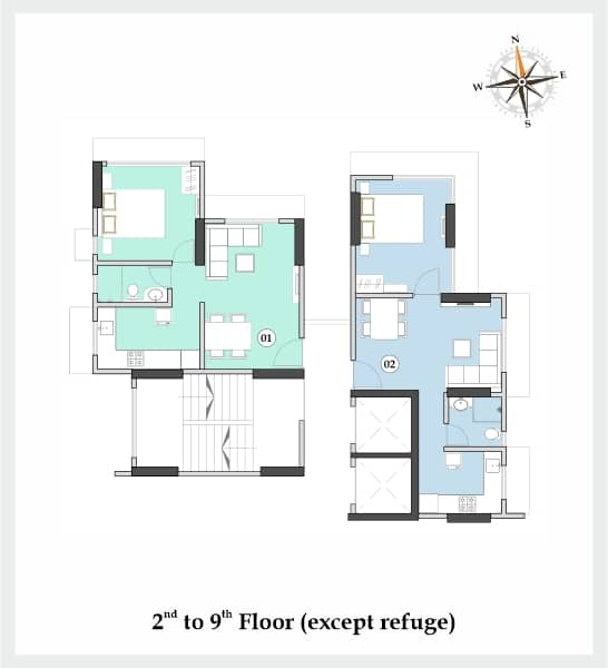 Floor plan 2 to 9 Vishnu Phase I Dahisar