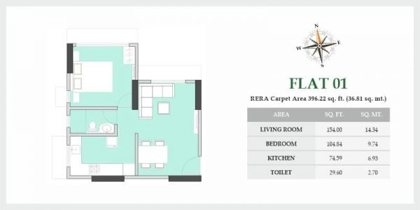 Spacious Apartments at VKLAL VISHNU PHASE I - Flat 01 - Floor Plans